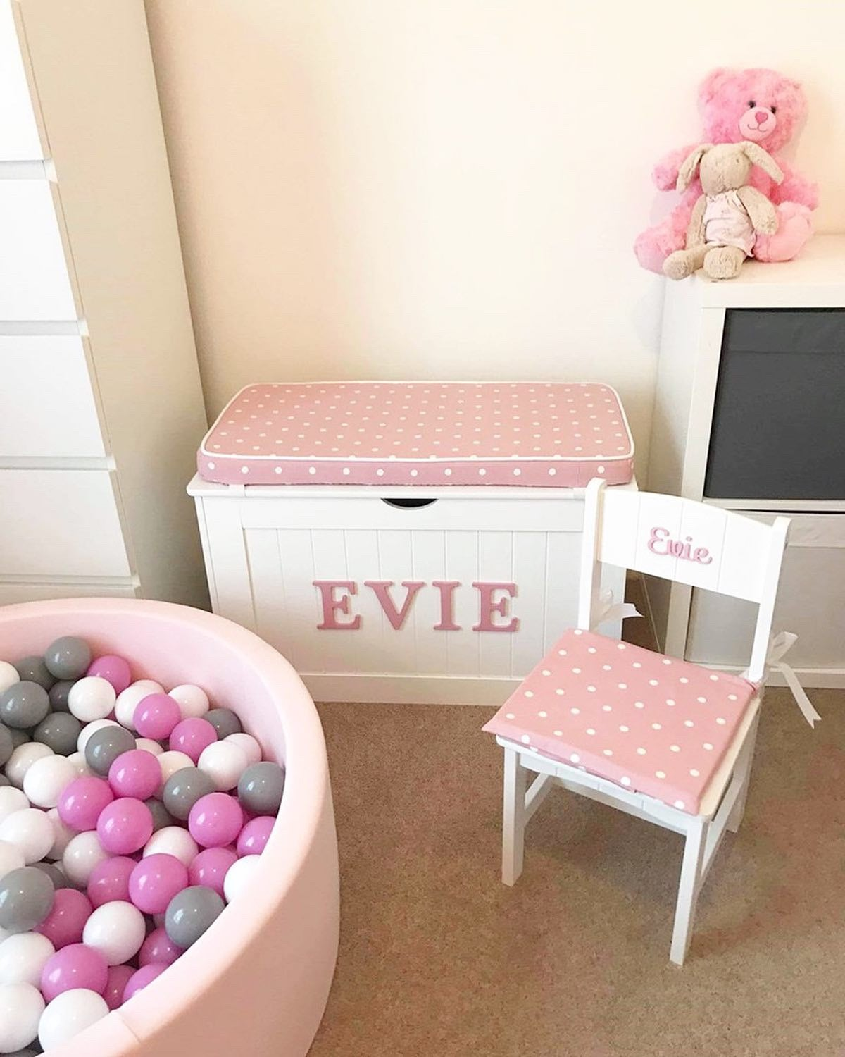 Image of Personalised Chest - Cushion Top - Dotty Pink