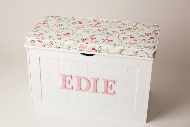Image of Personalised Chest - Cushion Top - Bird trail ***DELIVERY AFTER 1st AUGUST***