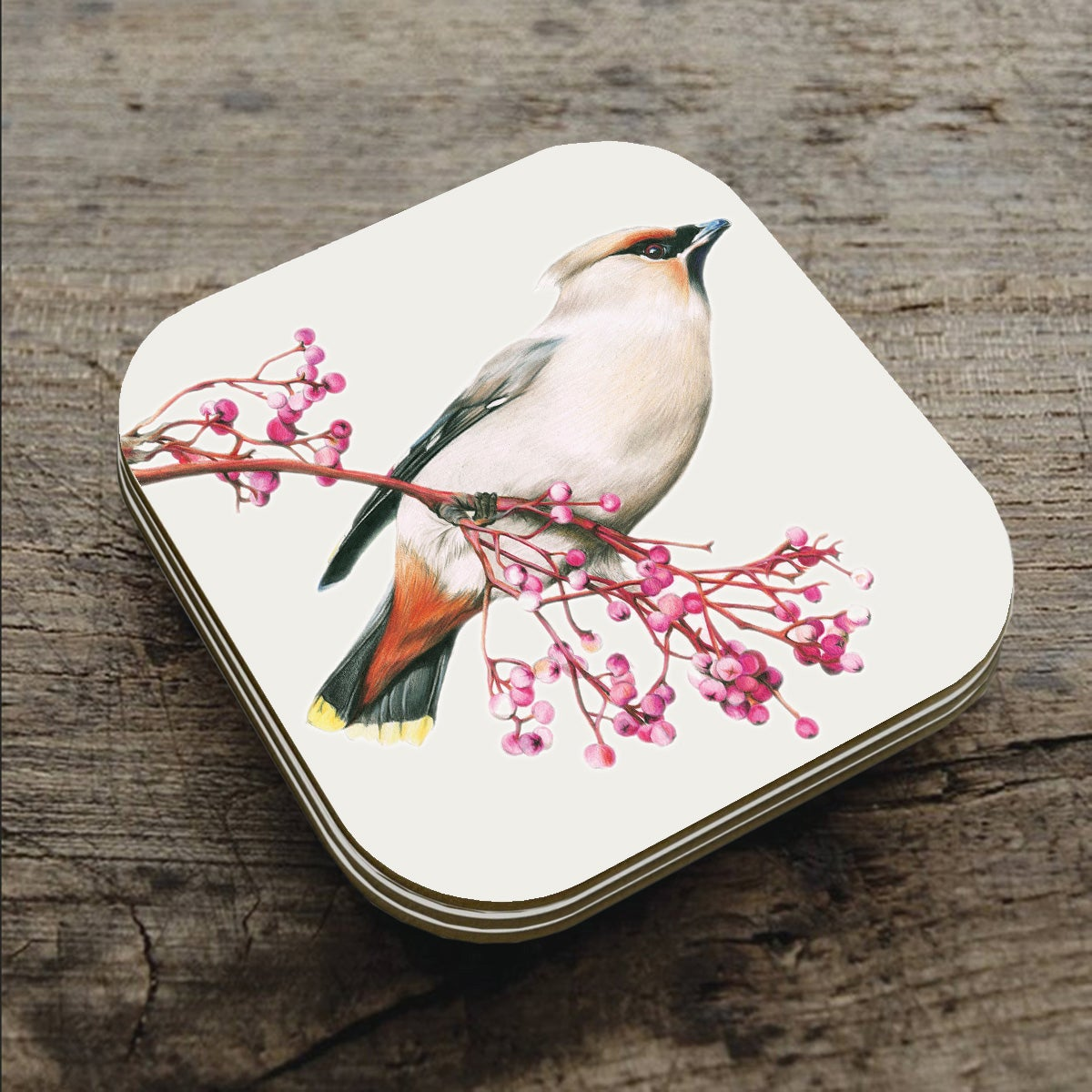 Image of 'Waxwing' Coaster
