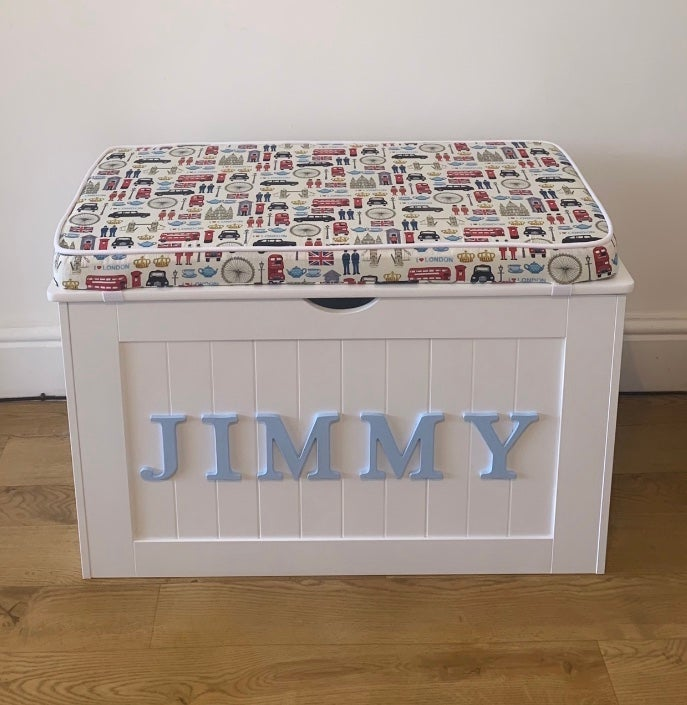 Image of Personalised Chest - Cushion Top - LONDON fabric