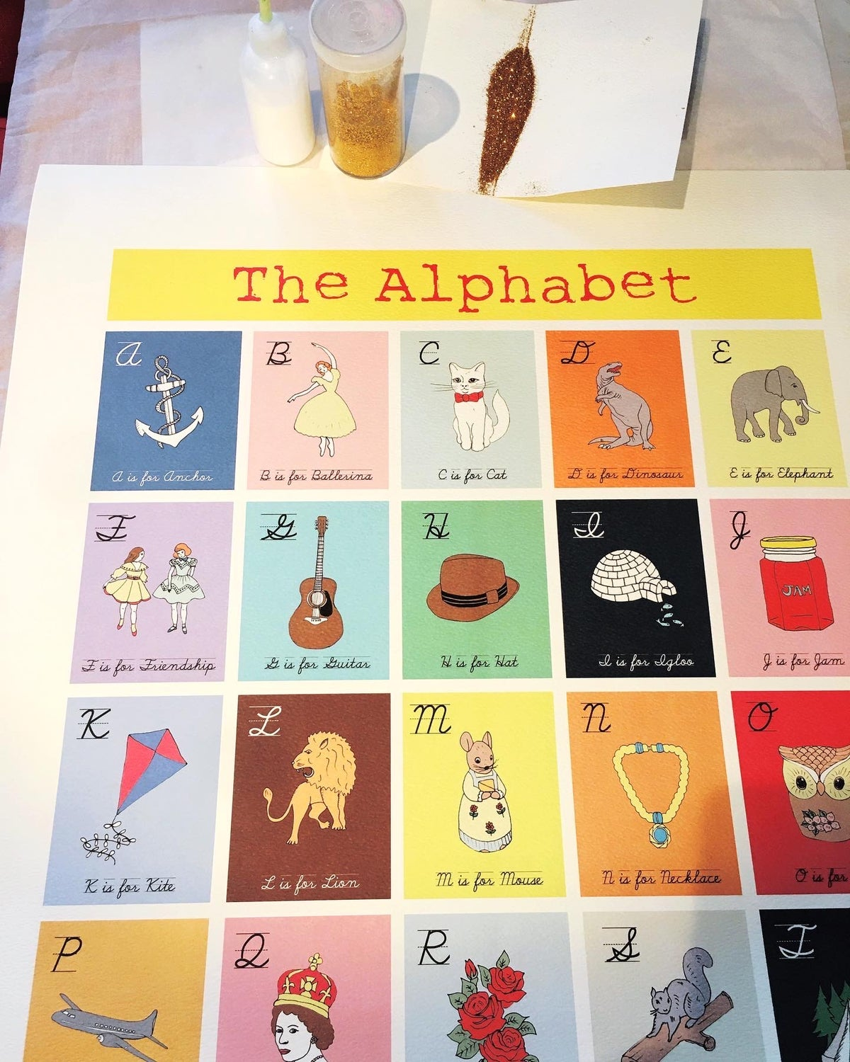 Limited Edition Hand Decorated Alphabet Print (50x70cm)