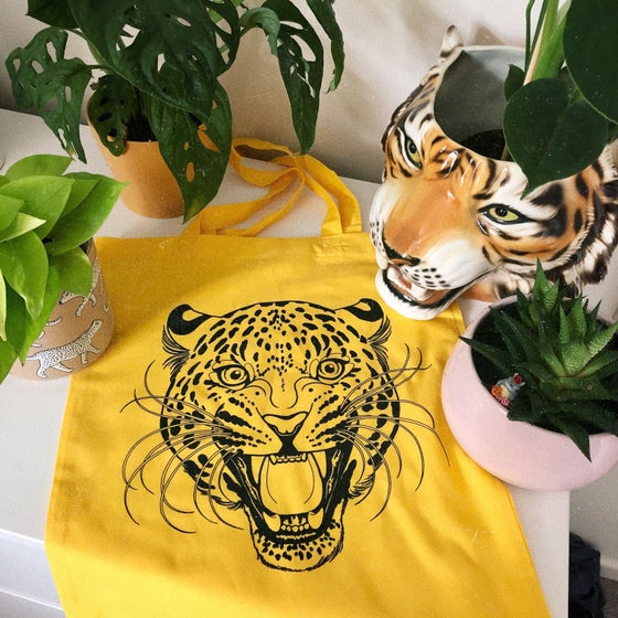 Image of Yellow Leopard Tote Bag