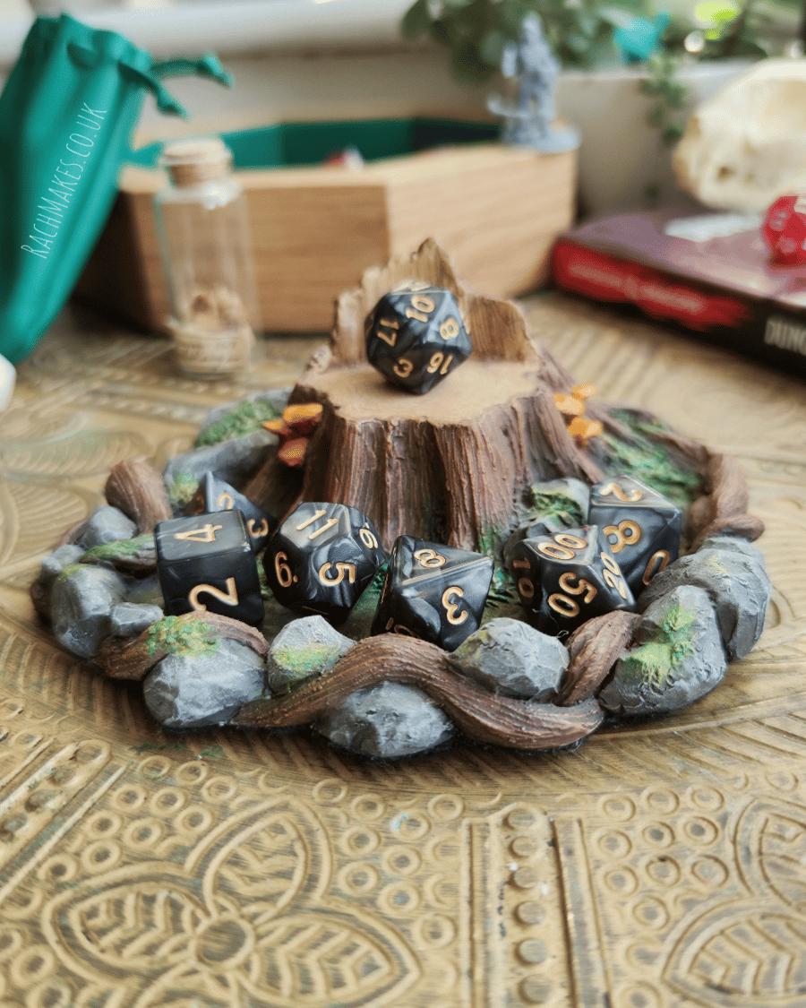 Image of Woodland throne dice display base.