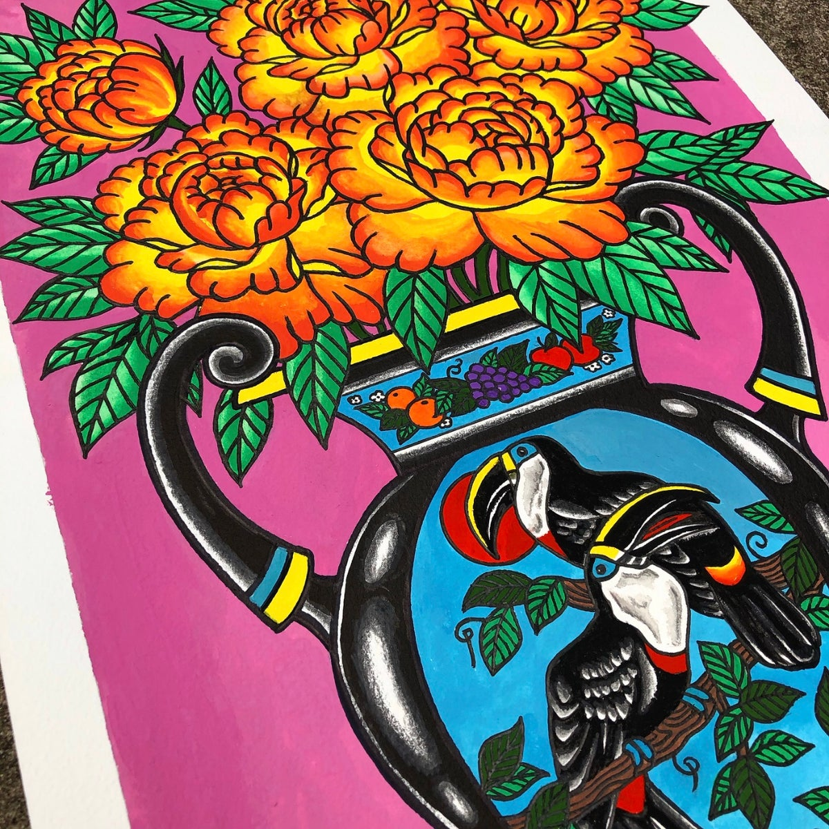 Image of Toucan Vase painting