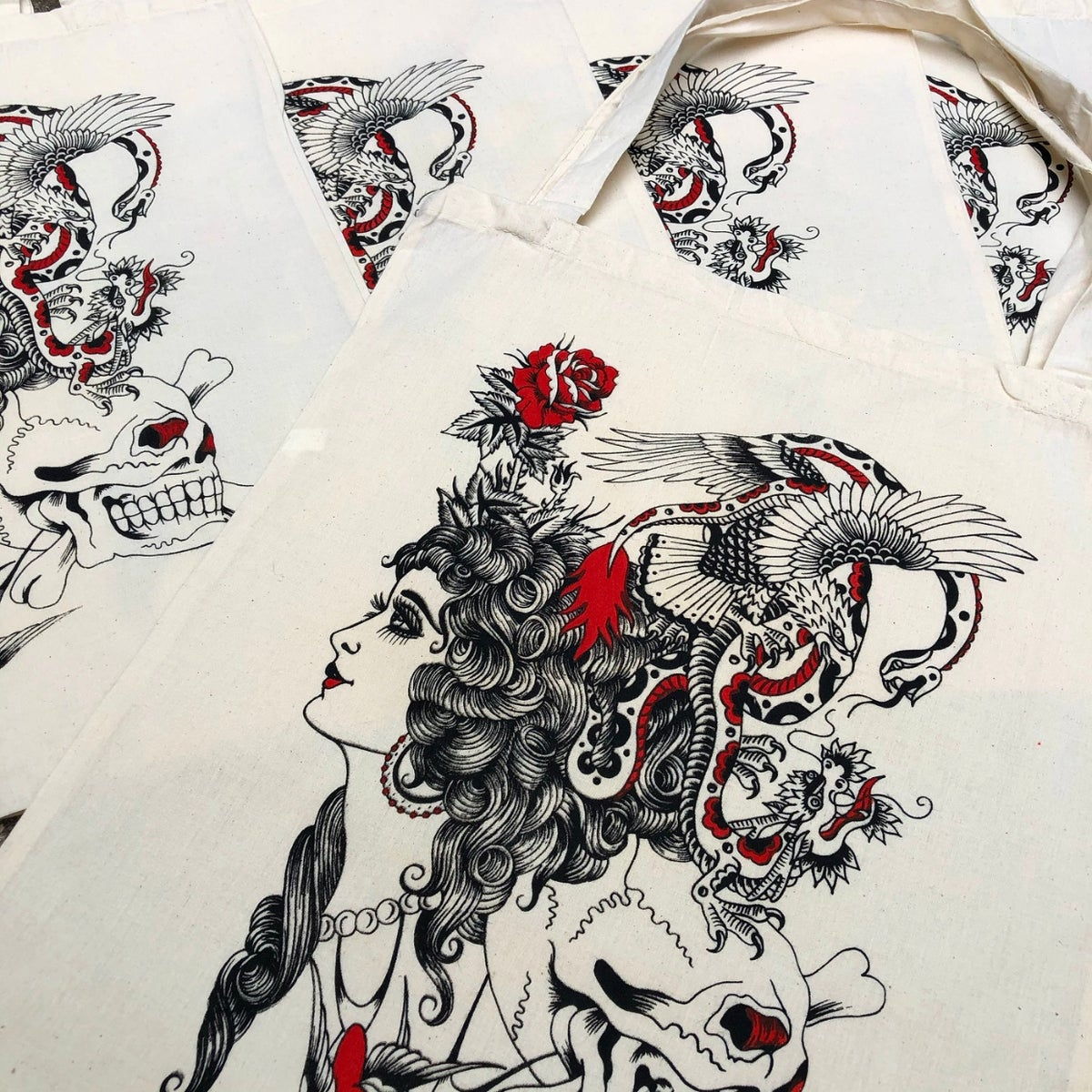 Image of Tat flash canvas tote bag