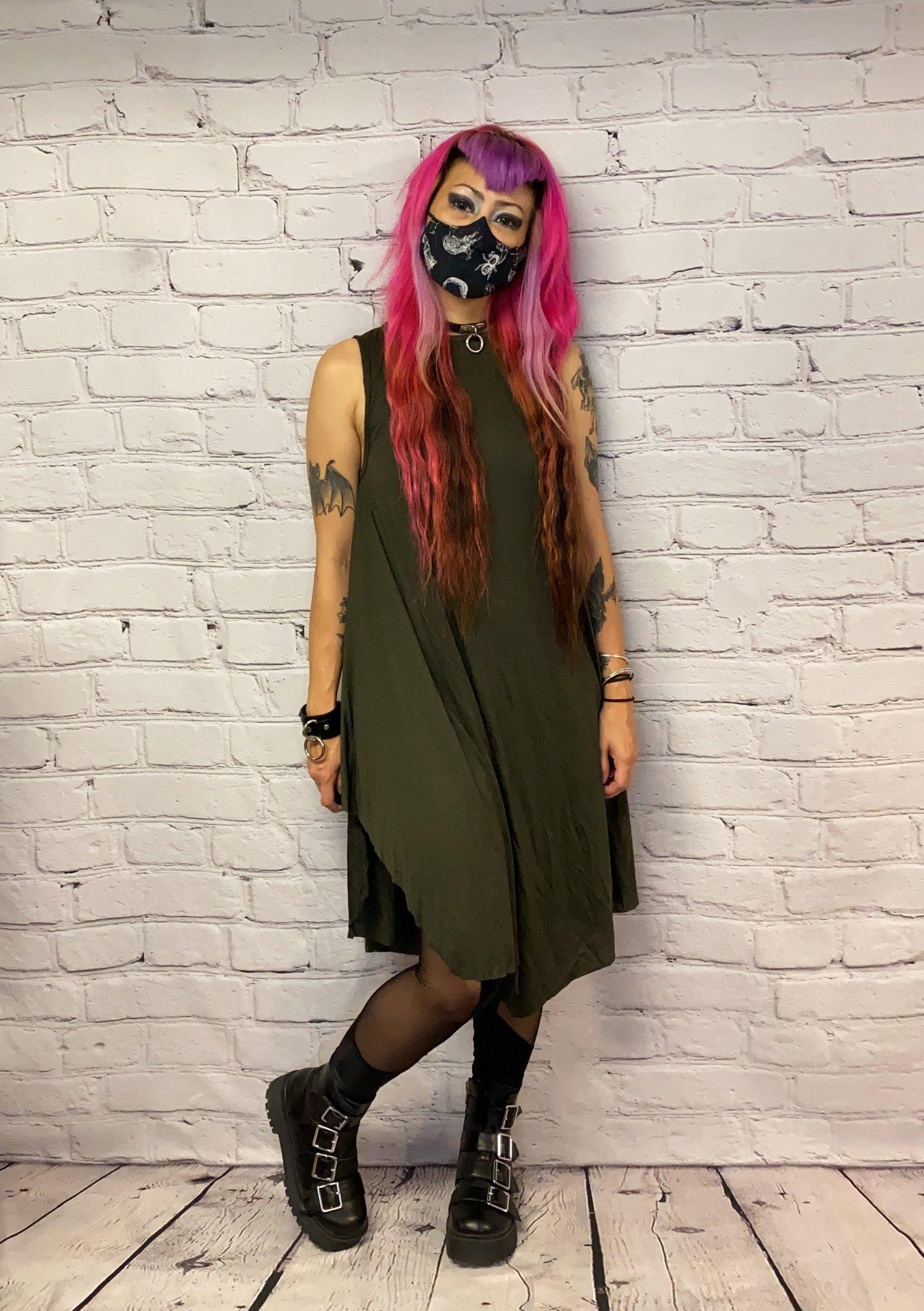 Image of Midi Moss Green Tencel Dress