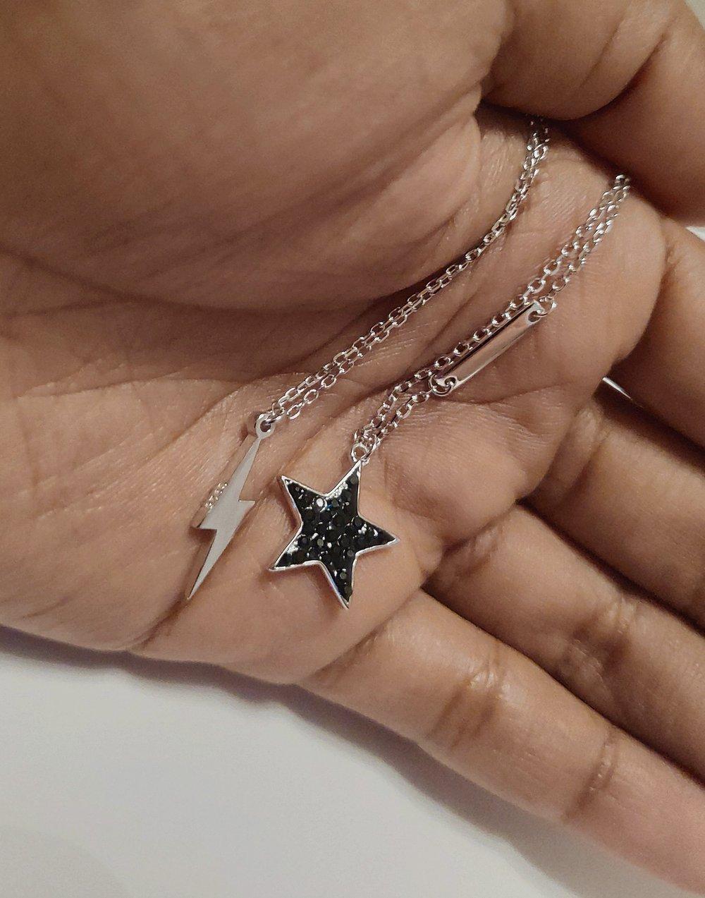 Blackstar Pendant Design Necklace (925 Sterling Silver)