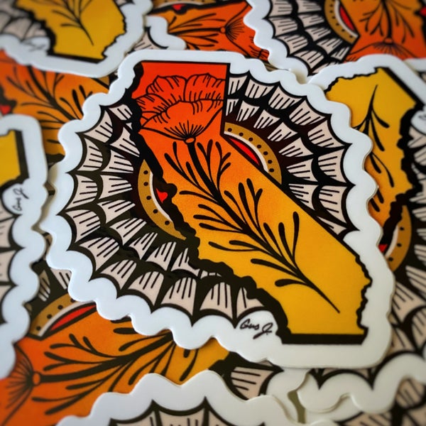 "Image of ""Cali Poppy"" die cut sticker"