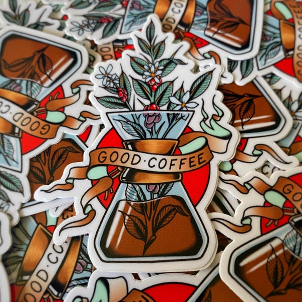 "Image of ""Good coffee"" die cut sticker"