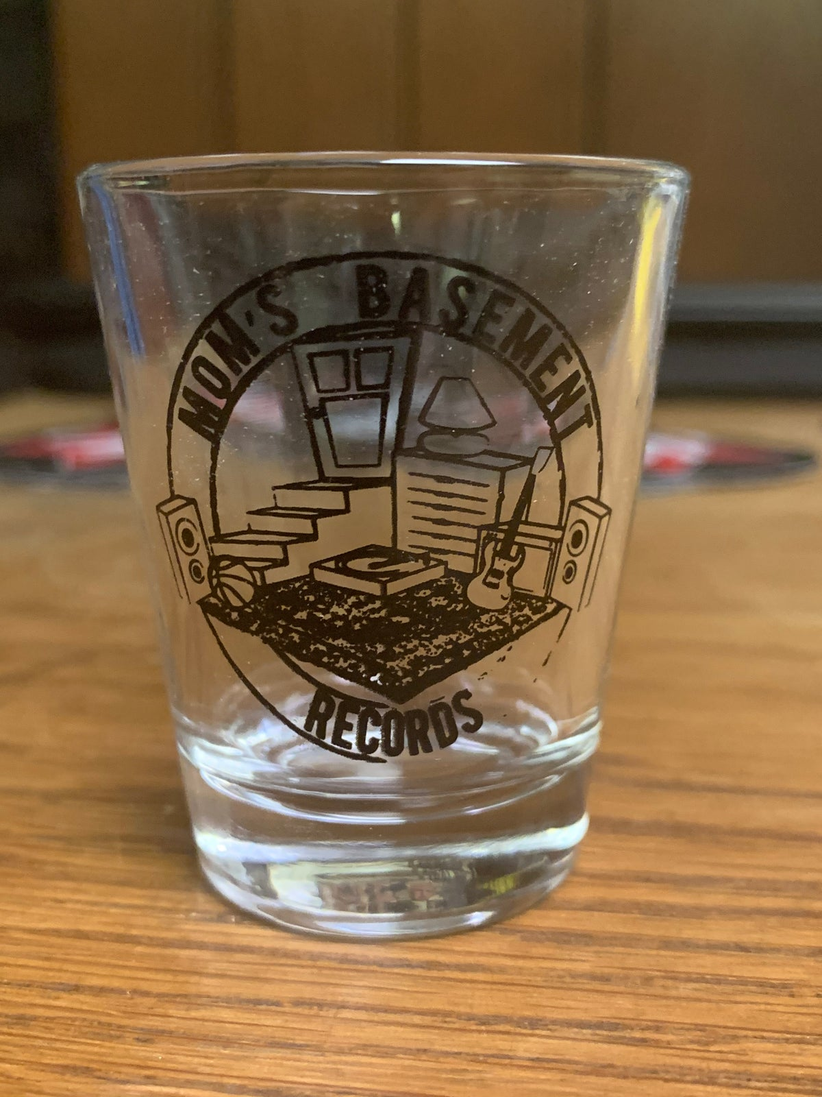 Image of Mom's Basement Records Shot Glass