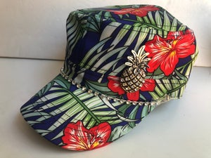 Image of Blue Hawaiian Cadet Hat Antique Pineapple