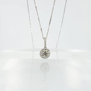Image of 14ct white gold diamond halo pendant PJ5767