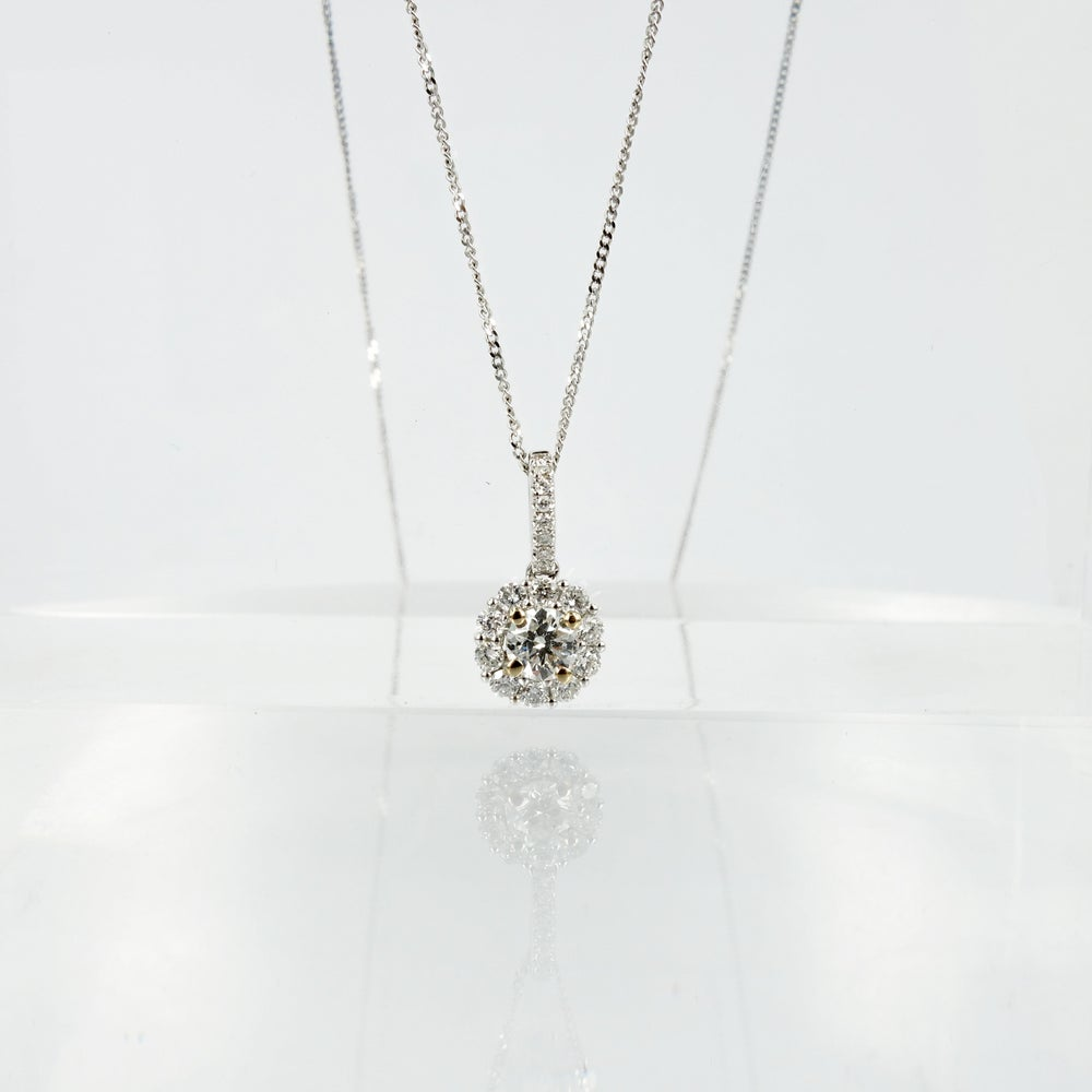 Image of 14ct white gold diamond halo pendant PJ5208