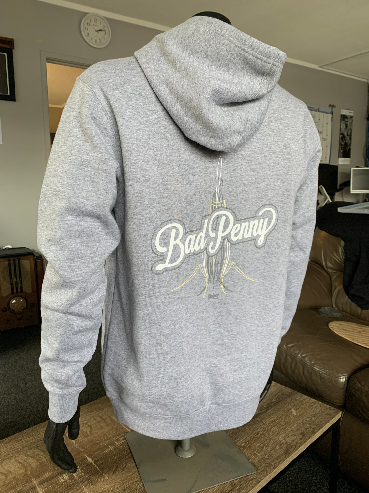 Image of Bad Penny Grey Marle Pinstripe Hoodie
