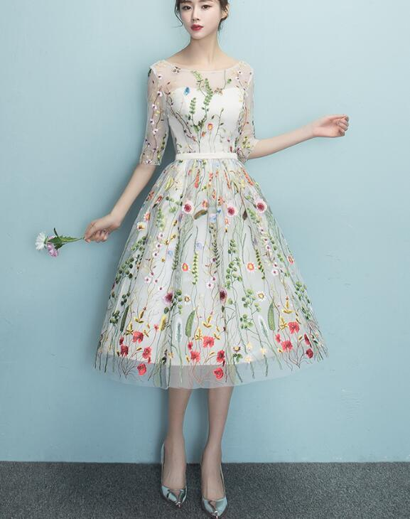 Floral Lace Knee Length Pretty Party Dress, Beautiful Wedding Party Dresses