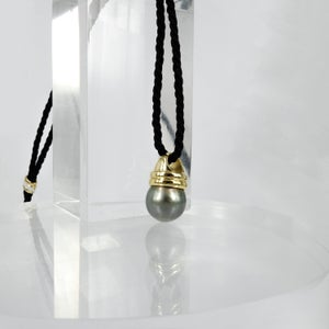 Image of Sterling silver gold plated pearl pendant on black chord