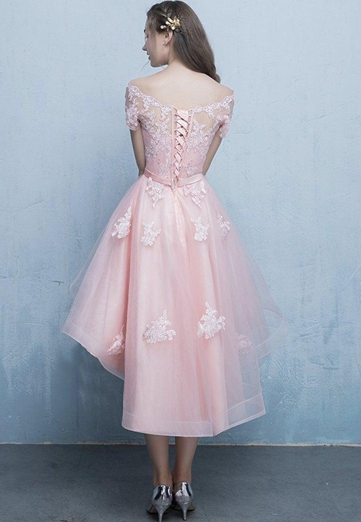 Light Pink Off Shoulder High Low Homecoming Dress, Pink Prom Dress