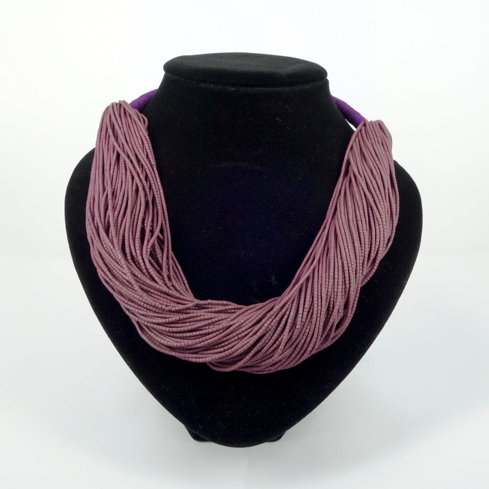Image of Lavender purple volcanic glass beaded necklace