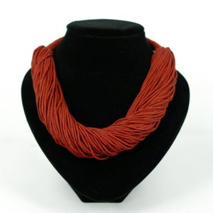 Image of Deep Red multi strand Volcanic beaded necklace