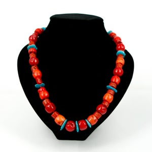 Image of Red coral and Turquoise beaded necklace