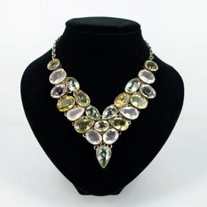 Image of Multi coloured gemstone statement necklace