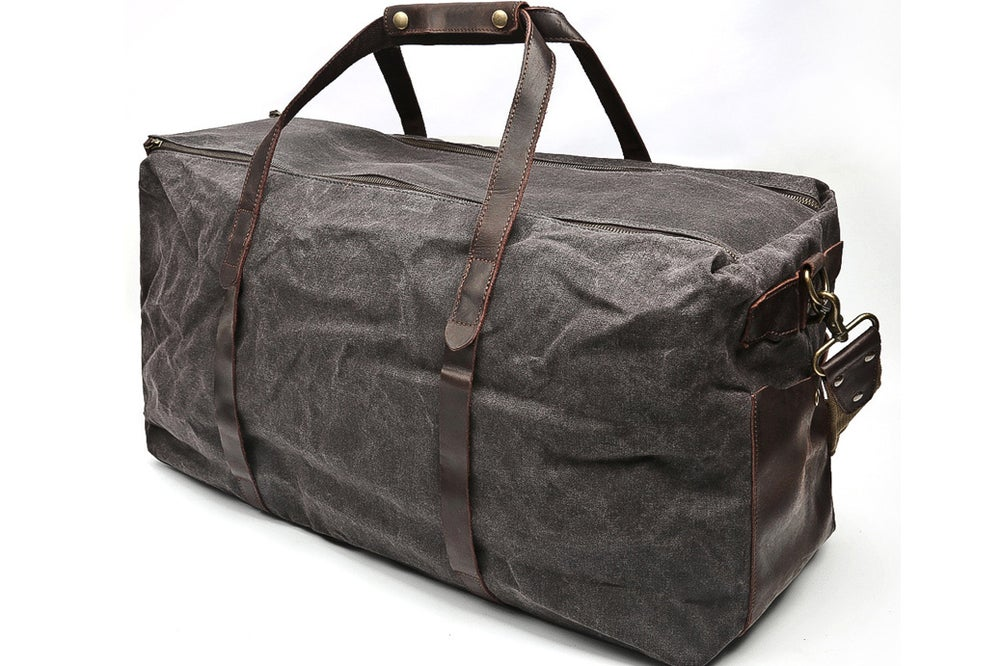 Image of Handmade Waxed Canvas Leather Travel Bag Luggage Weekender Bag AF13