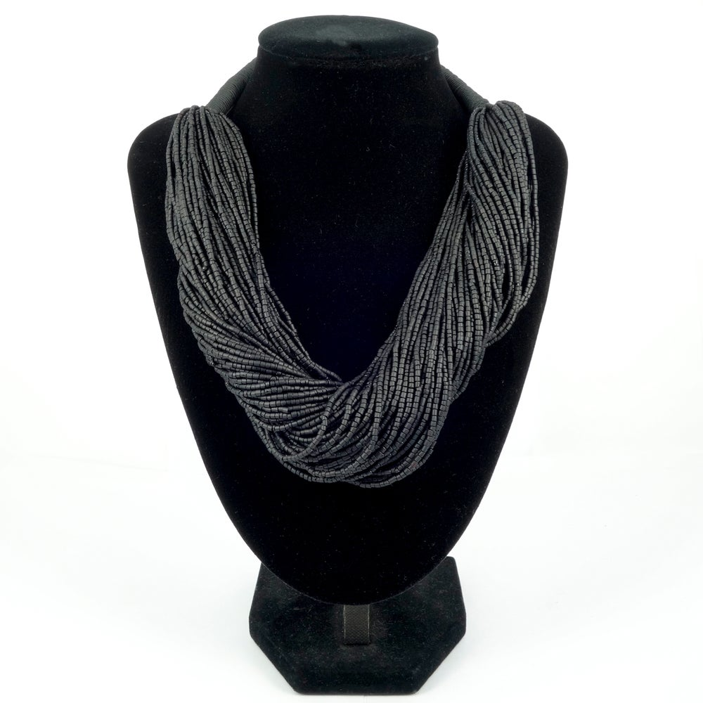 Image of Black multi strand beaded necklace
