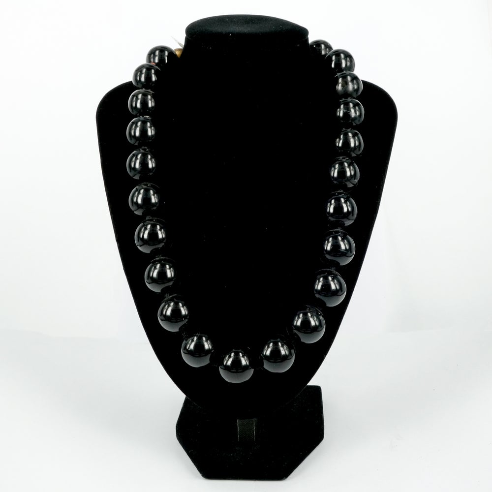 Image of Polished black onyx beaded necklace