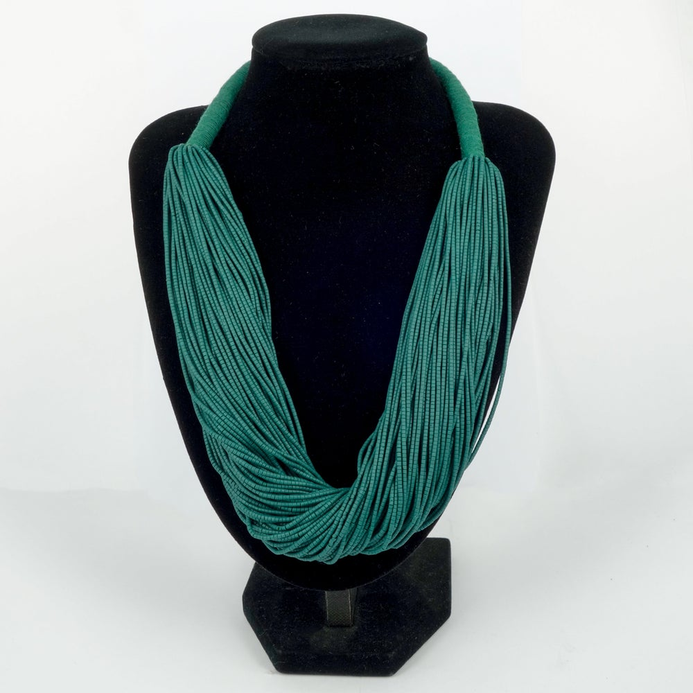 Image of Forest Green Volcanic glass beaded necklace