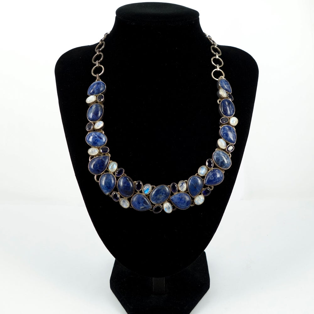 Image of Lapis and moonstone multi stone statement necklace