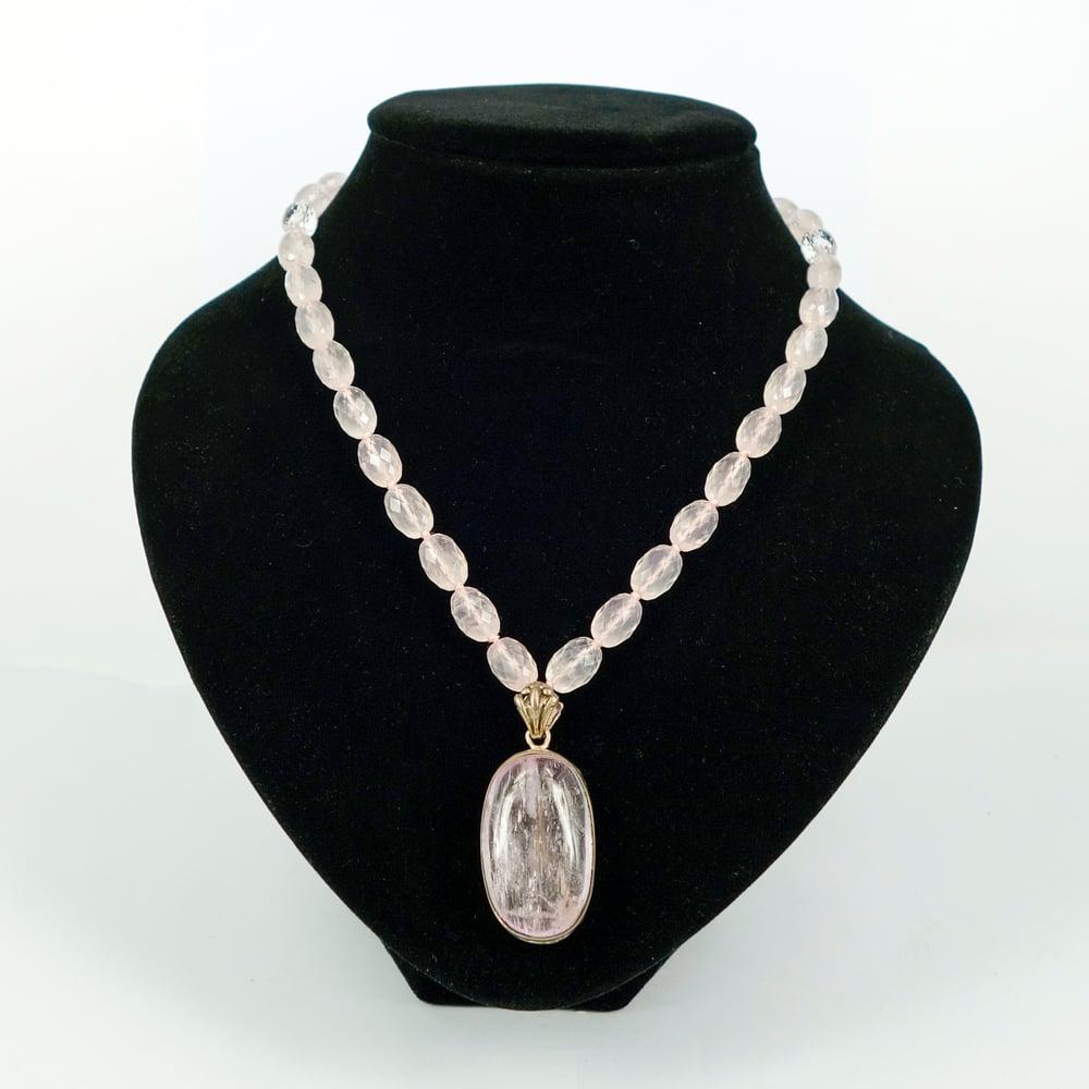 Image of Rose Quartz gemstone necklace