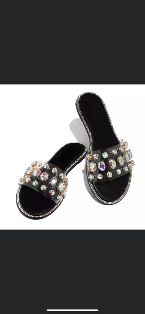Image of DIAMOND BLACK SLIPPERS