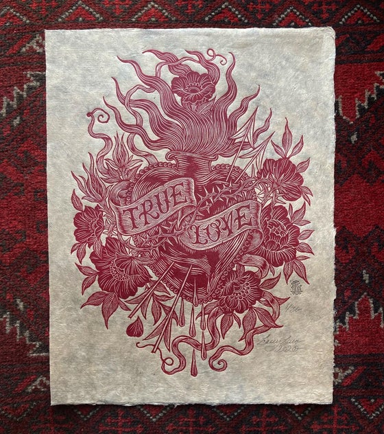 Image of 'True Love' - Original Woodcut Print in Crimson on Natural Lokta
