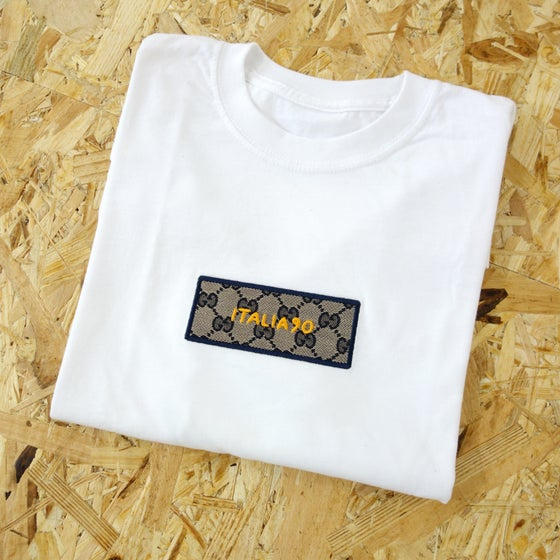 Image of Italia90 Box Logo GG Blu Custom T-Shirt