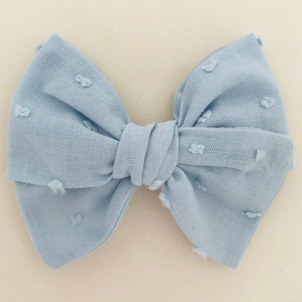 Image of Barrette voile de coton plumetis bleu gris