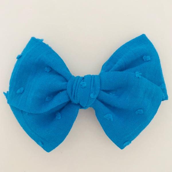 Image of Barrette voile de coton plumetis bleu