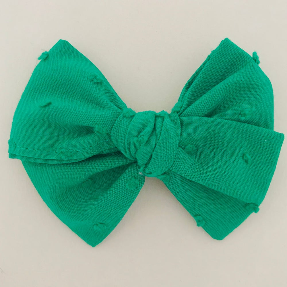 Image of Barrette voile de coton plumetis vert gazon
