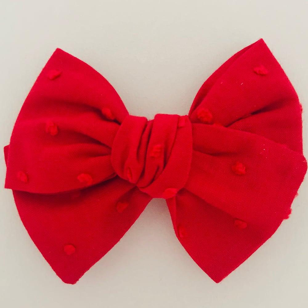 Image of Barrette voile de coton plumetis rouge
