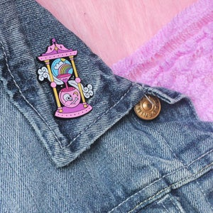 Image of Hourglass Sandtimer enamel pin - skull - rainbow - creepy cute - pastel goth - lapel pin badge