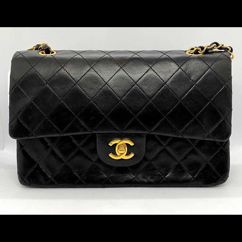 Image of Classic Black Lambskin Double Flap Handbag