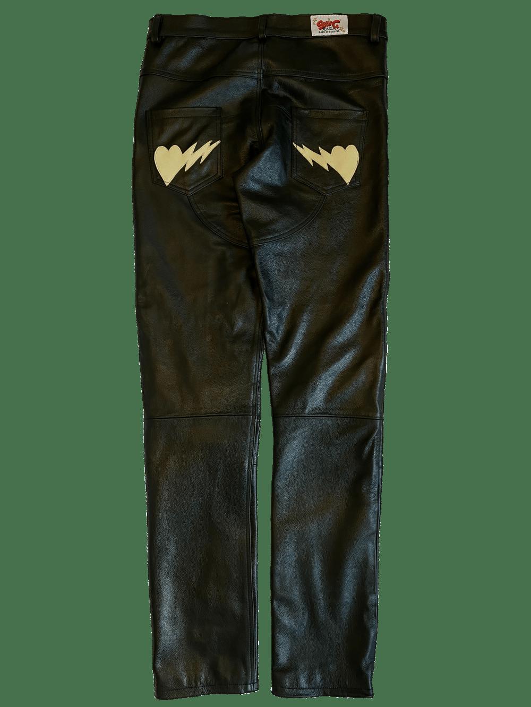 BLACK/CREAM BIKER BONES LEATHER PANTS