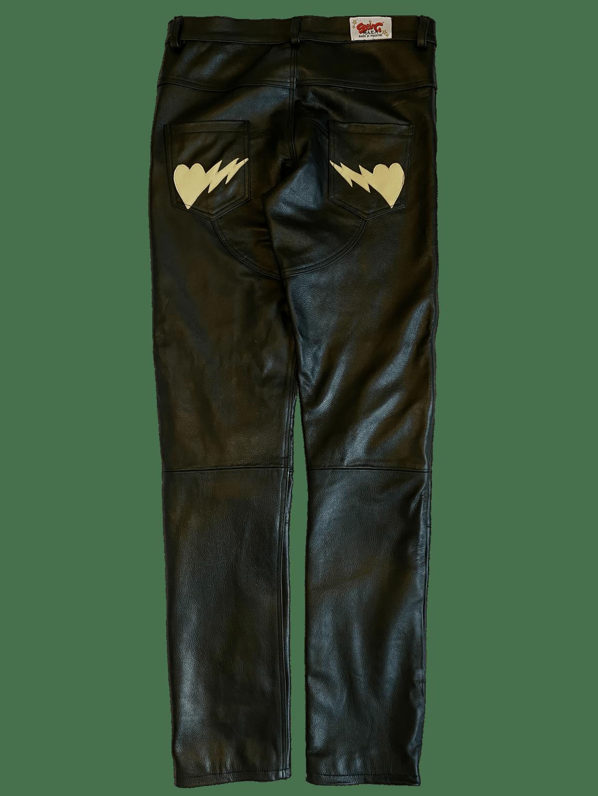 Image of BLACK/CREAM BIKER BONES LEATHER PANTS