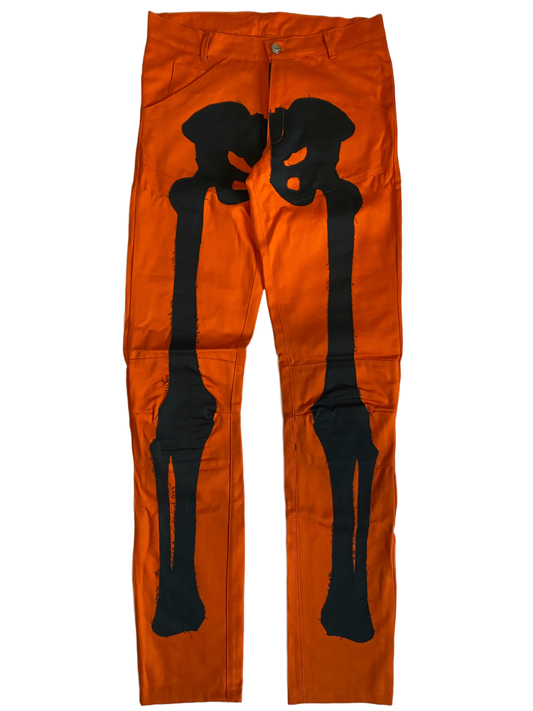 Image of PUMPKIN ORANGE BIKER BONES DENIM PANTS