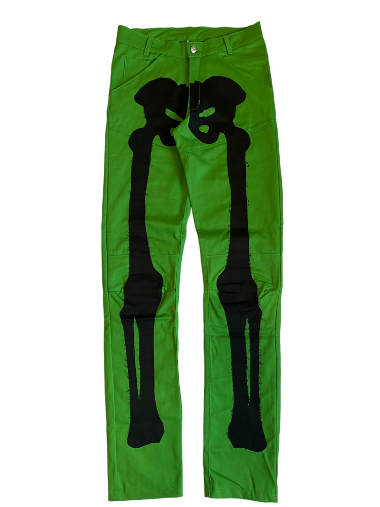 Image of IRISH GREEN BIKER BONES DENIM PANTS