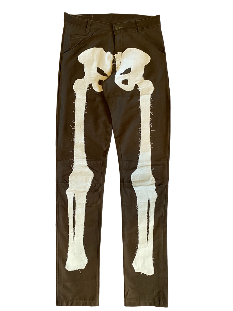 Image of CHOCOLATE BROWN BIKER BONES DENIM JEANS