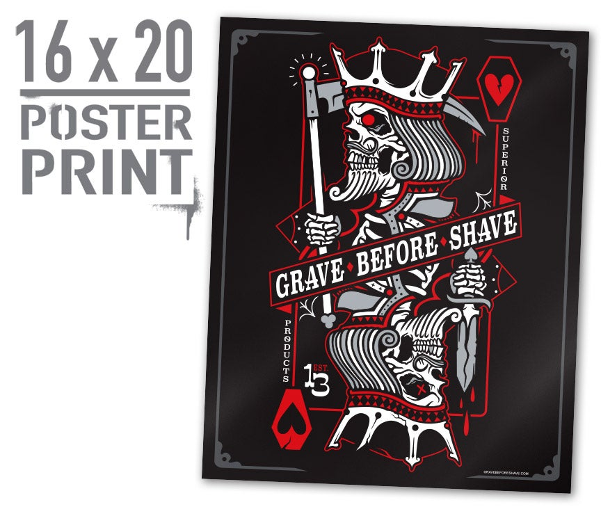"""Image of Grave Before Shave """"Never Fold"""" Poster"""
