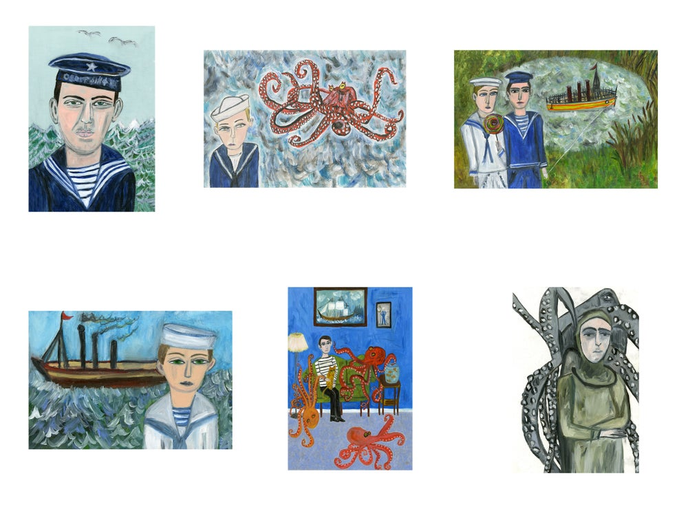 Image of Sailors Never Cry greeting card set.