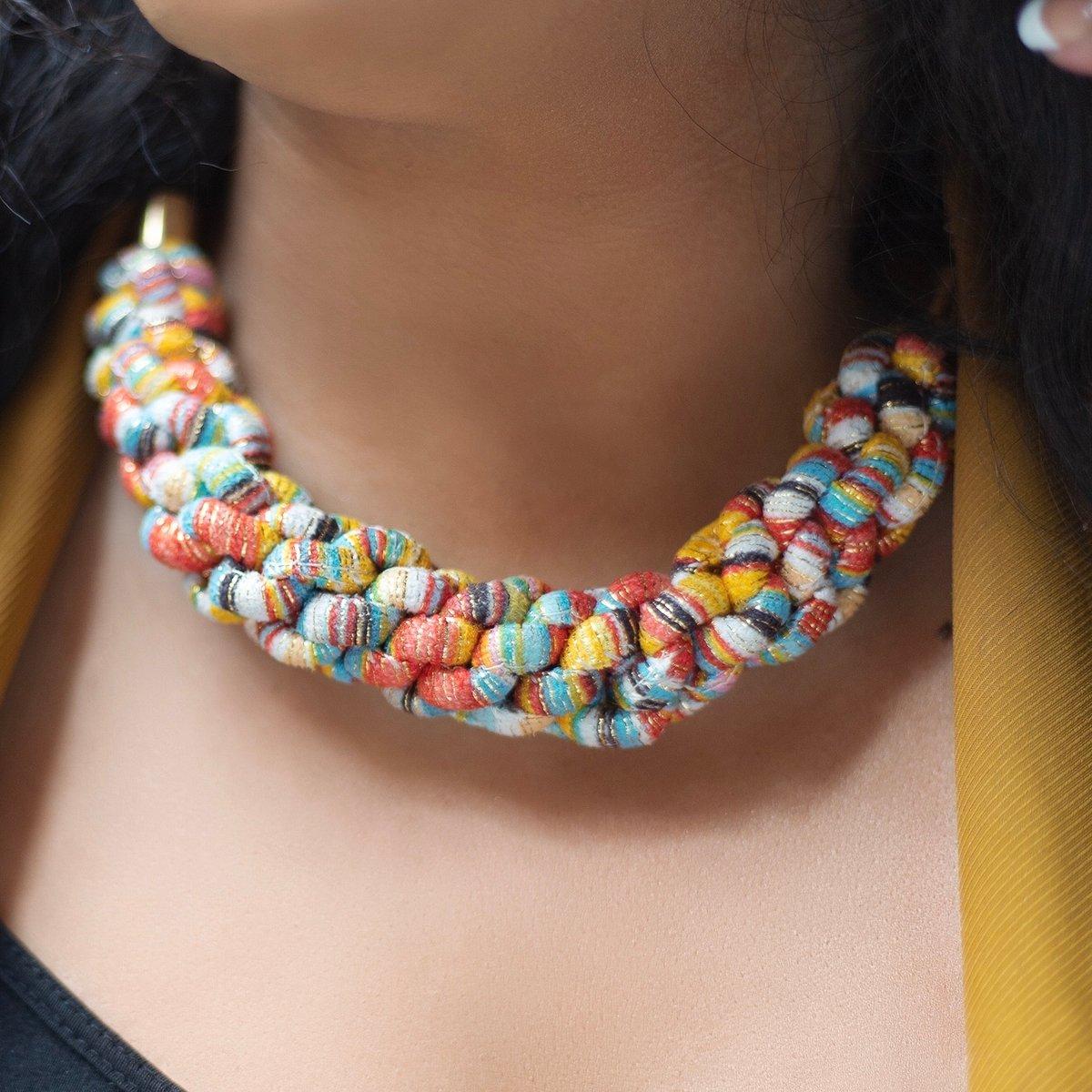 Image of ASILI - Multicoloured Rope Statement Necklace – Yellow