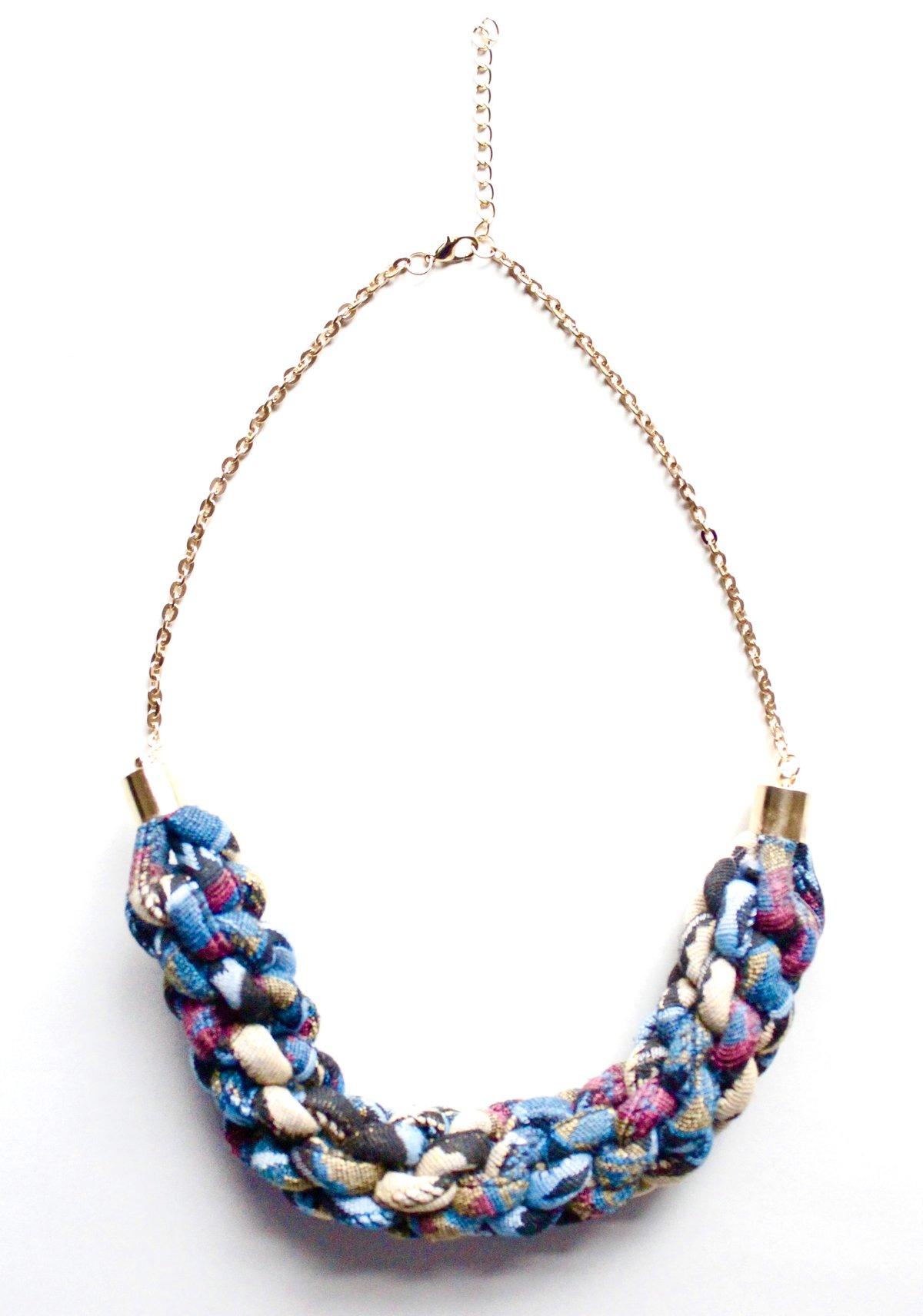 Image of ASILI - Multicoloured Rope Statement Necklace – Blue
