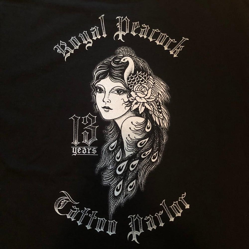 Image of Royal Peacock 13 year anniversary shirt size SMALL